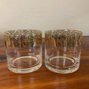 Plum & Punch gold rimmed rocks glasses (pair)